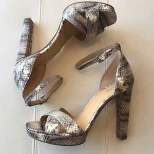 bcffd4c242ba Michael Kors Shoes - NEW! MK Python white and gray peep toe heels